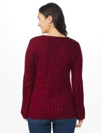 Westport Novelty Yarn Stitch Interest Sweater - Back