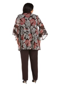 Plus Two Piece Puff Print Pant Suit - Brown - Back
