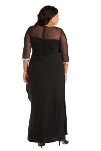 Rhinestone Neck and Sleeve Detailed Sheer Illusion Dress - Plus - Back