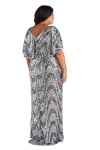 Plus Flutter Capelet Wave Sequin Dress - Back