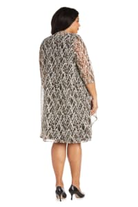Plus Puff Print Swing Jacket Dress - Black / Taupe - Back