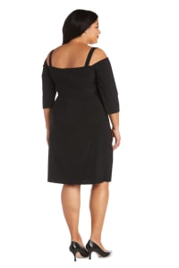 Plus Cold Shoulder Short Dress - Black - Back