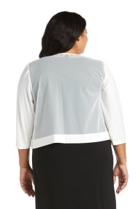 Draped, Open Jacket with Sheer Back Panels and 3/4 Sleeves - Plus - Ivory - Back