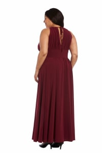Maxi Dress with Embellishment - Plus - Merlot - Back