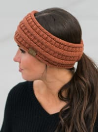 CC® Lined Pony Head Band - Rust - Back