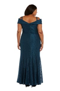 Off the Shoulder Glitter Lace Gown Godet Pleats at Hem - Plus - peacock - Back
