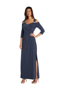 Column Evening Gown with Shoulder Cutouts and Diamante Embellishments - Back