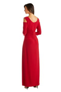 Column Evening Gown with Shoulder Cutouts and Diamante Embellishments - Red - Back