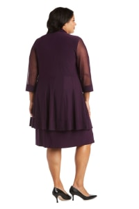 Plus Knee-Length Dress with Beaded Neckline and Soft Jacket with Sheer Sleeves - Plum - Back