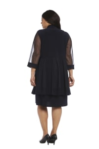 Plus Knee-Length Dress with Beaded Neckline and Soft Jacket with Sheer Sleeves - Navy - Back
