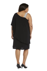 Asymmetric Knee-Length Dress with Draped Shoulder and Diamante Strap - Plus - Black - Back