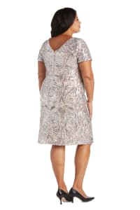 Sequin Short Sleeve Dress - Plus - Back