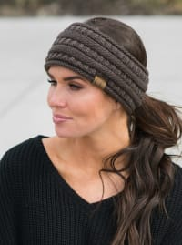 CC® Lined Pony Head Band - Brown - Back