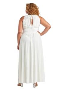Sleeveless Maxi Dress with Embellished Waist Band and Keyhole Cutout - Plus - Back