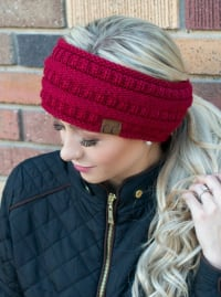CC® Lined Pony Head Band - Burgundy - Back