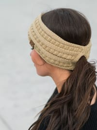 CC® Lined Pony Head Band - Camel - Back