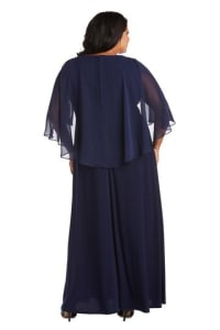 Plus Long Matte Chiffon Dress - Navy - Back