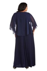 Plus Long Matte Chiffon Dress - Navy - Back