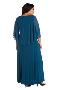 Plus Long Matte Chiffon Dress - Pine - Back