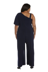 Asymmetric Jumpsuit with Overlay and Draped Sleeves - Plus - Navy - Back