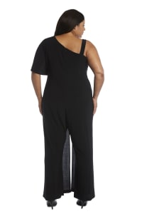 Asymmetric Jumpsuit with Overlay and Draped Sleeves - Plus - Black - Back
