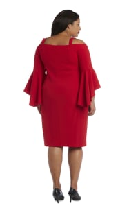 Plus Off-the-Shoulder Sheath Dress with Fluted Sleeves, Removable Straps and Structured Seams - Back