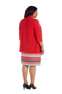 3/4 Sleeve Stripe Dress with Jacket - Plus - Back