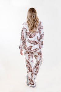 Brown Fleur Long Pajama Set - Ivory / Meerkat / Navy - Back