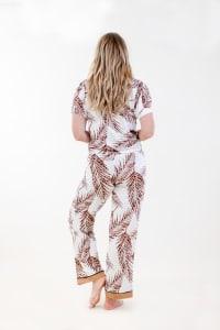 Fleur Front-Tie Pajama Set - Ivory / Meerkat / Navy - Back