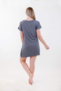 One Spirit Short Sleeve Shirt Dress - Charcoal - Back
