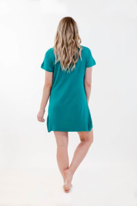 One Spirit Short Sleeve Shirt Dress - Blueprint - Back