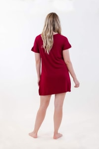 One Spirit Short Sleeve Shirt Dress - Rumba Red - Back