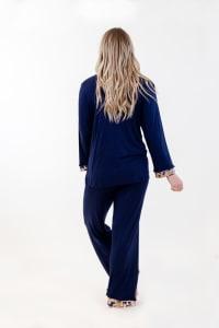 One Spirit Classic Long Pajama Set - Navy - Back