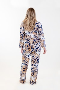 Exotic Long Pajama Set - Ivory / Meerkat / Navy - Back