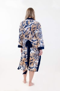 One Spirit Exotic Fleur Mid Robe - Ivory / Meerkat / Navy - Back