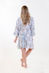Floral Kimono Robe Set - Light Blue - Back