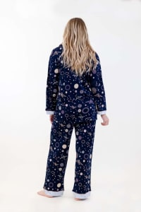 Navy Polygonal Long Pajama Set - Navy - Back