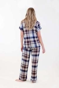 Brown Plaid Pajama Set - Navy / Tan / Blue - Back