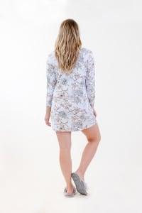 Floral Henley Dress - Light Blue - Back