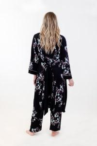 Floral Long Wrap Robe - Black - Back