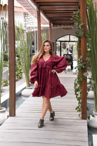 Texas Rose V-Neck Boho Dress - Plus - Ruby - Back