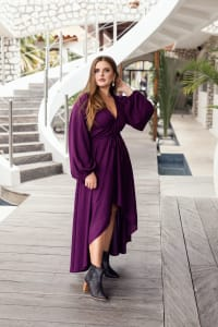 Linda V-Neck Midi Dress - Violet - Back