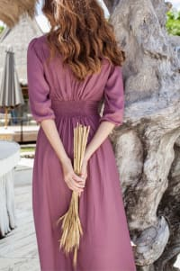 Whisper Light V-Neck Maxi Dress - Plum - Back