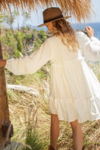 Texas Rose V-Neck Boho Dress - Plus - White - Back