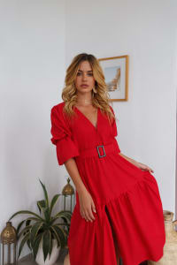 Peony V-Neck Midi Dress - Red - Back