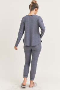 Me Time Lounge Top and Leggings - Navy - Back