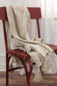 """Sand 100% Recycled Polyester Solid Stripe 50""""x60"""" Throw - Ivory - Back"""