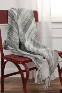 """Charcoal 100% Recycled Polyester Solid Stripe 50""""x60"""" Throw - Grey - Back"""