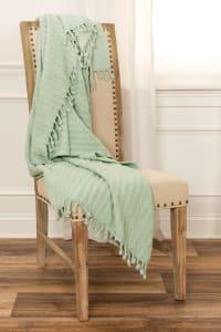 "Aqua Cotton Knitted 50"" x 60"" Throw - Sky Blue - Back"