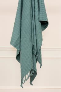 """Teal  Cotton Knitted 50"""" x 60"""" Throw - Back"""